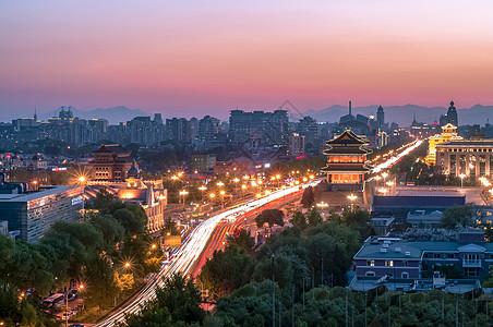 北京正阳门前门车轨夜色夕阳图片