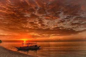 夕阳下的余晖图片