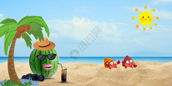 夏天西瓜在阳光海滩乘凉度假图片