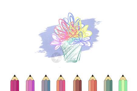 多彩彩铅笔图片