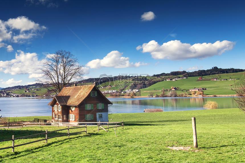 欧洲湖边小屋摄影图片免费下载_自然/风景图库大全
