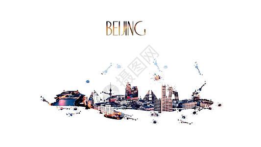 北京城市剪影海报图片