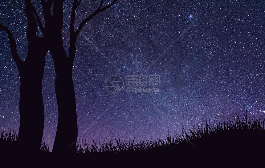 星空下的树