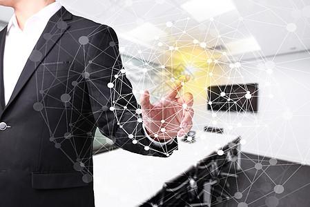 科技时代商务男士点击虚拟现实特效图片