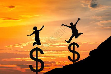 不断跳跃金钱的高度图片