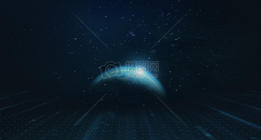蓝色星球科技背景图片