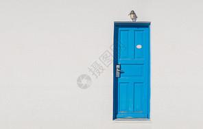 圣托里尼的蓝白门图片