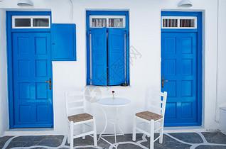 蓝白圣托里尼图片