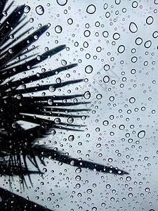 雷雨天玻璃窗上的水滴图片