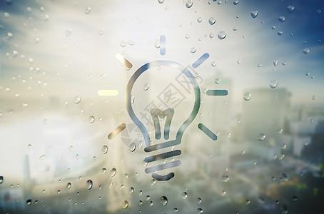 创意玻璃窗灯泡图片