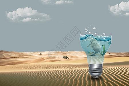 沙漠里游泳的大象图片