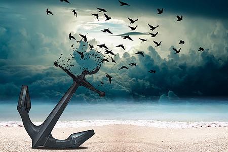 船锚变飞鸟创意图片