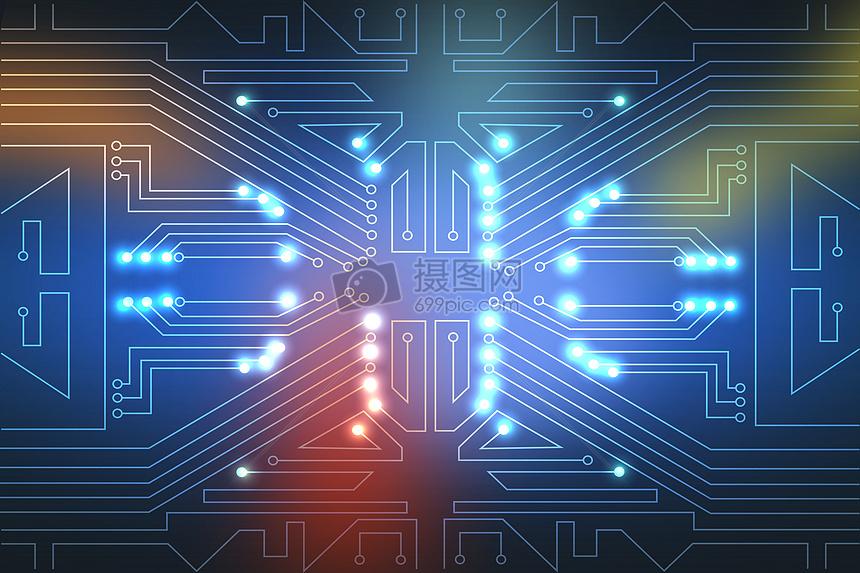 蓝色科技电路背景