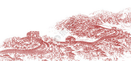 七一八一建军建党长城红色线条图图片