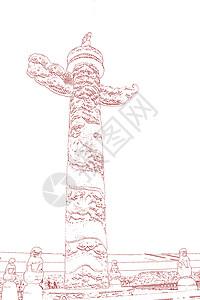 七一八一建军建党华表盘龙柱红色素描图片