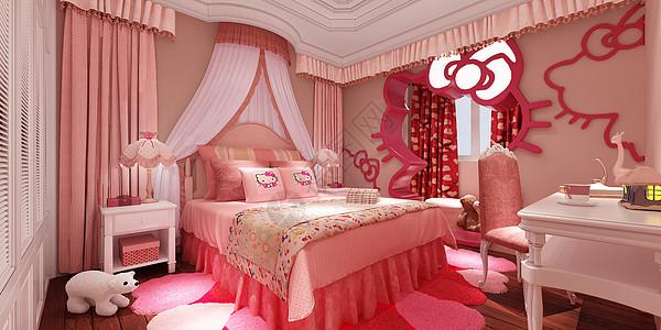 hello kitty 小公主卧室室内设计效果图图片
