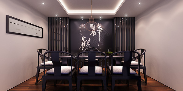 新中式风格装修茶室室内图图片