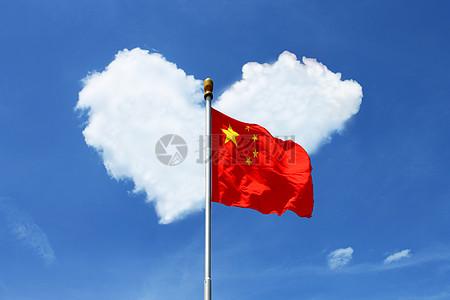 蓝天下的五星红旗图片