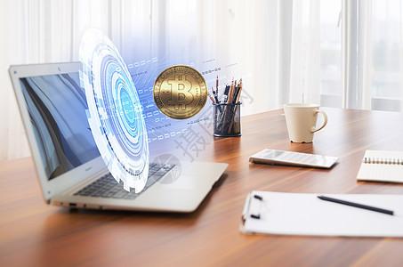 电脑里的比特币货币图片