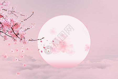 花瓣飘落月圆粉色云雾背景图片
