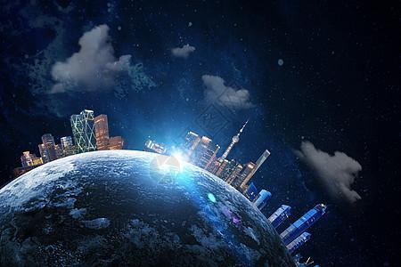 立体城市环绕地球图片