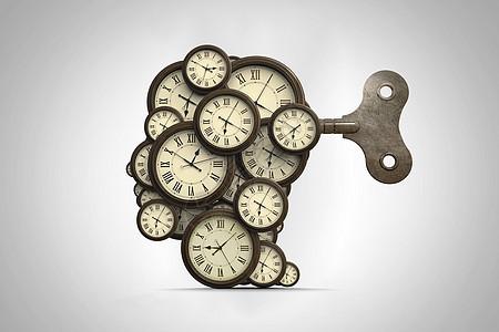 商业3D时钟头脑插图图片