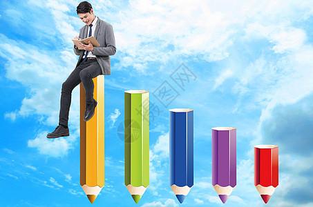 蓝天白云中人坐在铅笔上看书图片