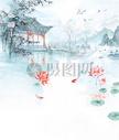 水墨庭院背景图片