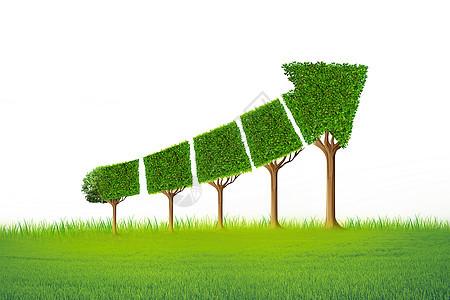 创意箭头树木经济图表和生态或生态发展的概念图片