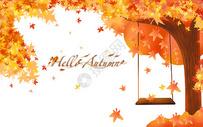 秋天小鹿水彩背景图片