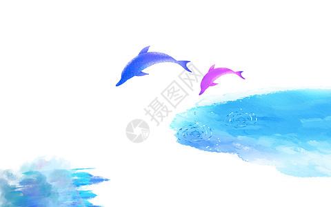 水彩鲸鱼背景图片