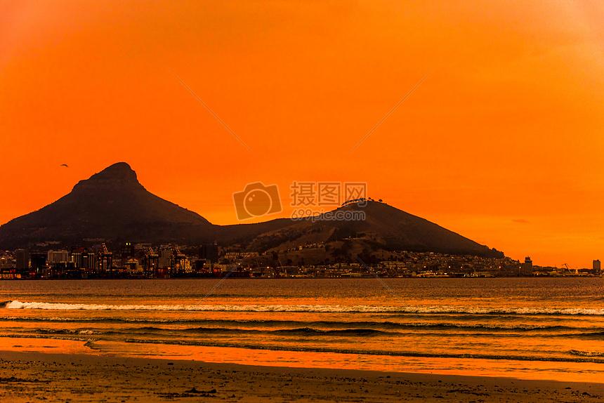 美丽海滩晚霞图片