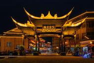 古镇古城古迹夜景图片