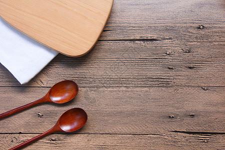 餐具厨具木纹背景素材图片