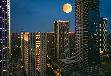 城市高楼夜景航拍图片