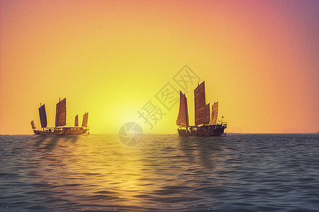日落帆船图片