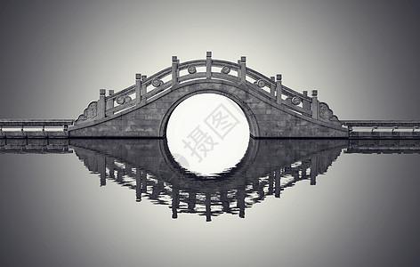 中国风古韵小桥倒影图片