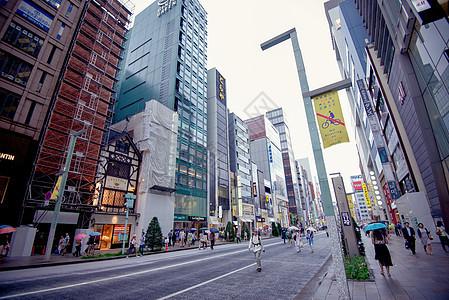 日本东京银座的街景图片