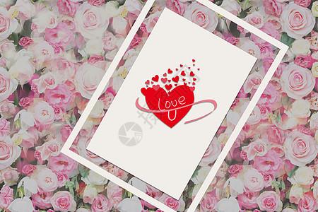 玫瑰花爱心卡片背景图片