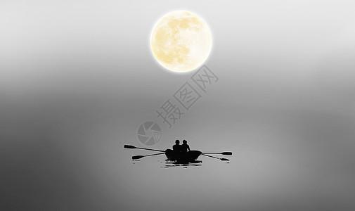 月光下的划船人图片