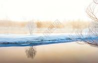 雾凇河流图片