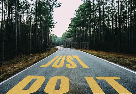 树林中马路图片