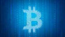 比特币概念蓝色背景设计图片