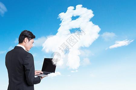 商人与比特币云概念图片