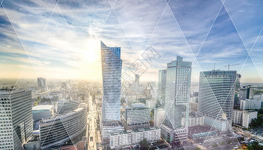 炫光三角形与波兰城市图片