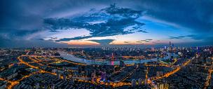 上海繁华都市全景城市夜景图片
