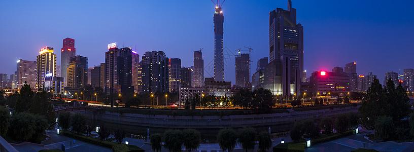 广角的北京CBD夜市图片