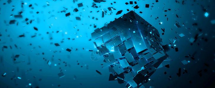 碎片式空间感科技背景图片