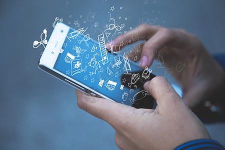 手指点击虚拟现实智能手机图片
