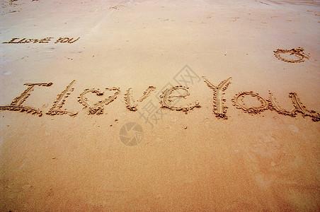 沙滩爱I LOVE YOU图片